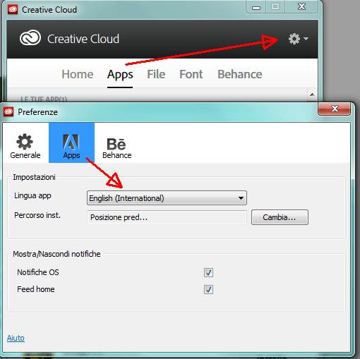 Opzioni Adobe Creative Cloud